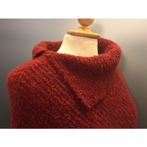 rød uld poncho