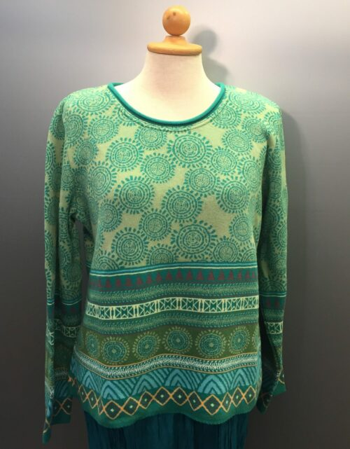 Dunque, Fint strikket Bomuldspullover – Grøn dunque mønster strik bluse