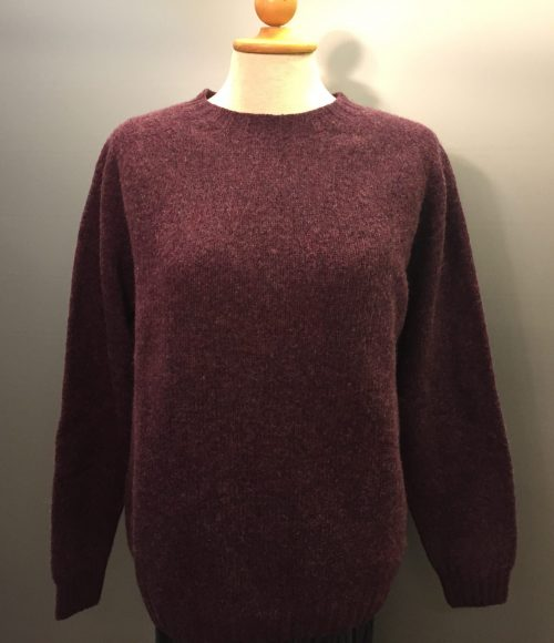 """Harley of Scotland - Dame pullover - """"Lambswool"""" Aubergine"""