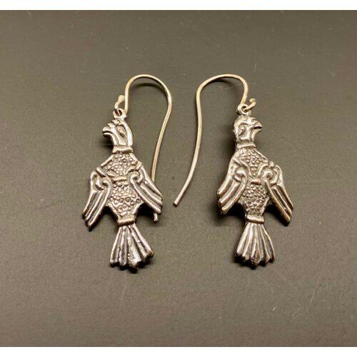 Vikinge Øreringe i sølv - Odins to ravne Hugin og Munin, vikingesmykke sølv hugin og munin øreringe ørehængere, ravne, hugin, munin, odin, klogskab, viden, sølv, ægte, sterling, 925, smukke, vikingesmykker, vikinger, vikingetiden, fugle, lette, dekorative, specielle, særlige, symbolik, kopi, kopismykker, original, fund, gamle, guder, tro, vikingetro, aser, jætter, freja, fabeldyr, mytologi, museums, smykker, museumssmykker, biti, ribe, udgravninger,