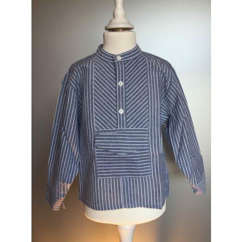 Bondeskjorte til børn - gråblå stribet (stof 54)