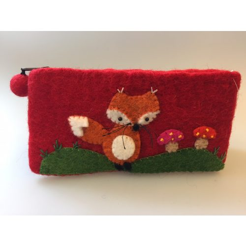 Penalhus - pung i filtet uld - rødt med ræv