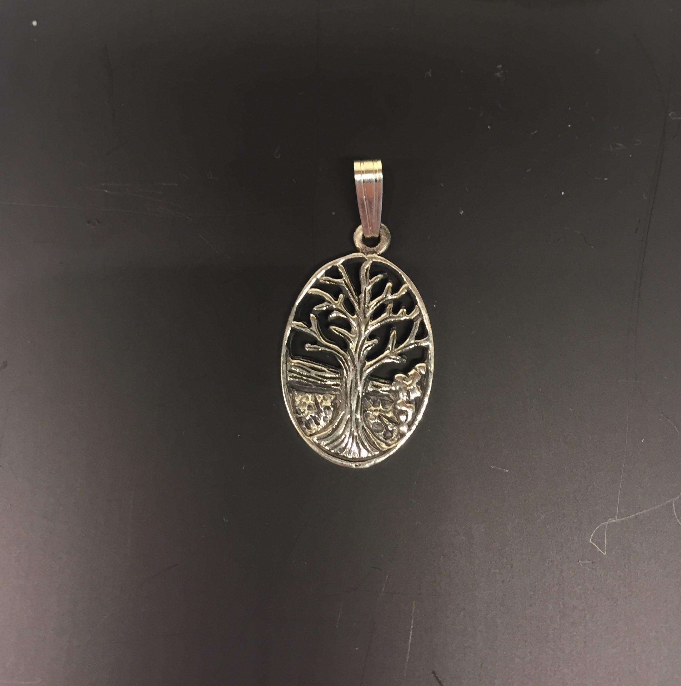 d1700b31aa9 Vikinge vedhæng sølv – Livets træ Yggdrasil lille oval