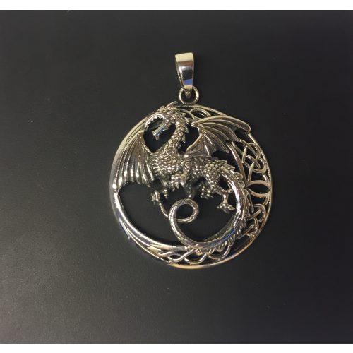 Vikingevedhæng i sølv - Drage rund med keltisk flet, odin, loke, jætter, udgård, asgård, midgård, fabeldyr, magisk, væsen, ringenes herre, mytologi, vogter, bevogter