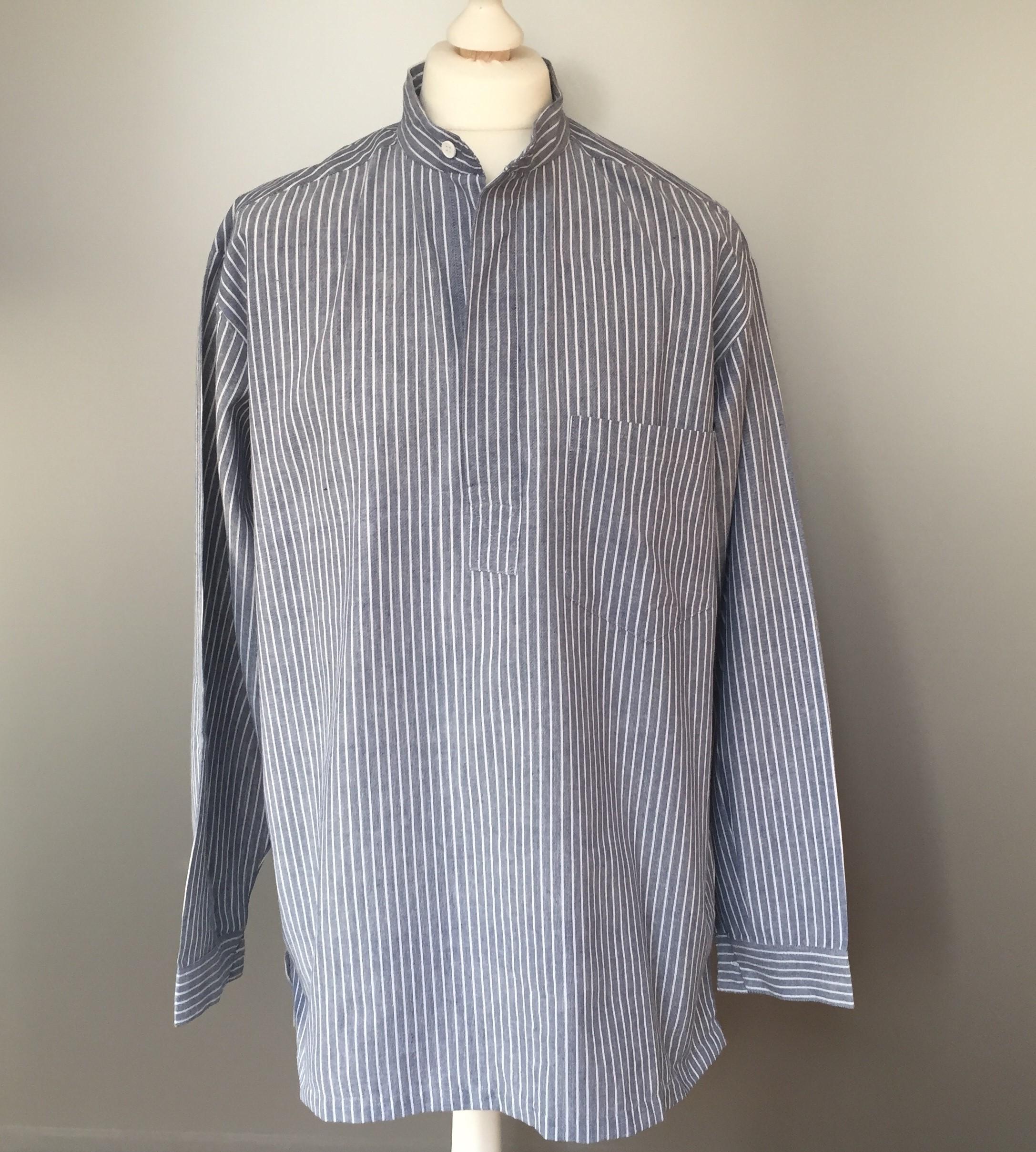 Bondeskjorte i bomuld - Denimblå (stof 54), voksen