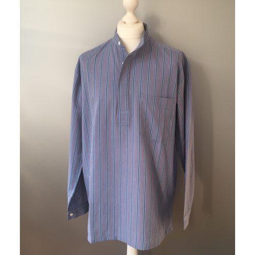 Bondeskjorte i bomuld - Blå/marineblå/rød (stof 983), voksen