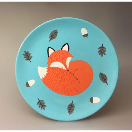 Flad Tallerken - melamin - Ræv, flad tallerken, plastik, melamin, praktisk, kær, sød, børnetallerken, til børn, børneservice, ræv, mikkel ræv, mads og mikkel, rusty, fox, speciel, flot, kvalitet