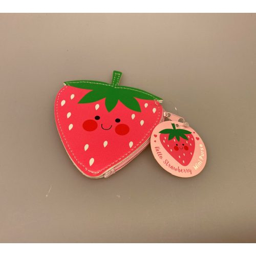Pung til børn - Lyserødt jordbær, jordbærpung, lyserød, rosa, pink, pigepung, gaveidé, børnefødselsdag, pengegave, sødt, kær, yndig, biti, ribe