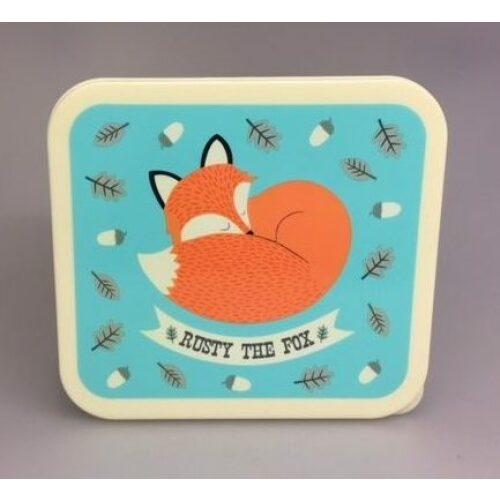 Madkasse - Firkantet turkis med Ræv - Rusty the fox, ræv, ræve, madkasse, madpakke, sød, fin, særlig, bæredygtig, middagspausen, skoletasken, skole, børnehave, vuggestue, fritter, job, arbejde, til, børn, til voksne, motiver, dyr, biti, ribe