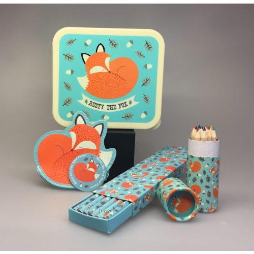 Madkasse - Firkantet turkis - med Ræv 'Rusty the fox' pung til børn cyllinder med farveblyanter blyanter i æske