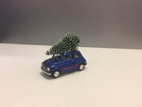 Fiat 500 med juletræ - Blå lille