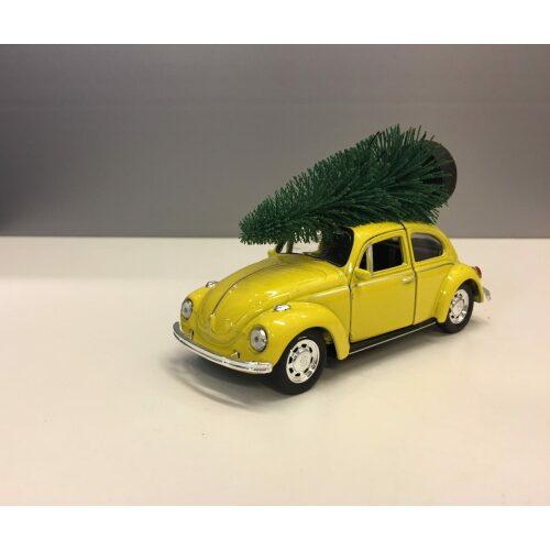 "VW Folkevogn Bobbel Classic med juletræ på taget - Gul,VW Folkevogn ""bobbel "" classic med juletræ på taget - Gul"