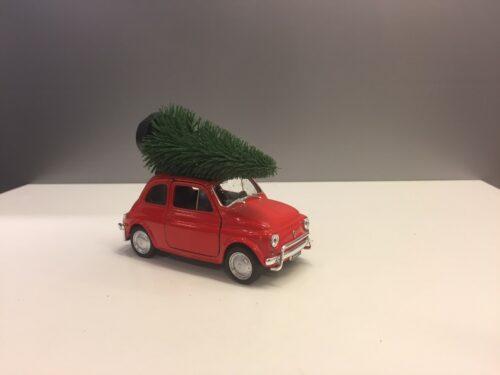 Fiat 500 med juletræ - Rød stor
