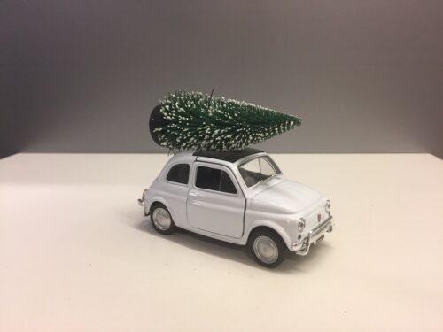 Fiat 500 med juletræ - Hvid stor