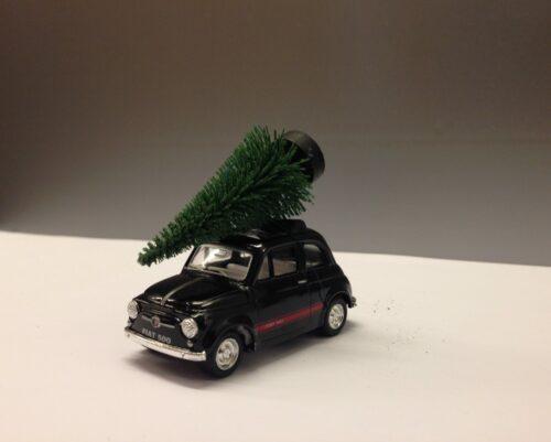 Fiat 500 med juletræ - Sort lille