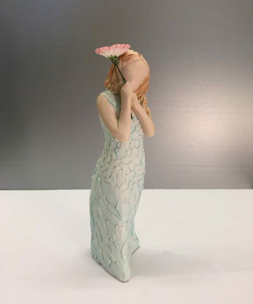 """More than words - grøn pige med rosa blomst """"best wishes"""""""