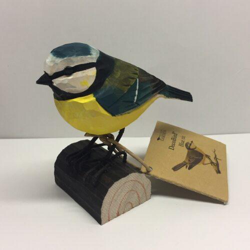 Naturens fugle - Wildlife garden - håndskåret af træ - Blåmejse