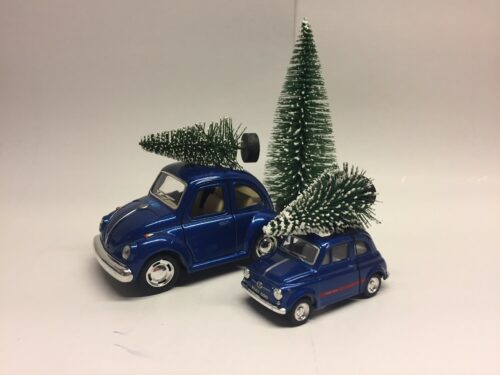"""VW Folkevogn """"bobble"""" med juletræ - mini Blå metalic Fiat 500 med juletræ - Blå lille"""