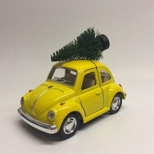 """VW Folkevogn Mini Bobbel med juletræ Gul,VW Folkevogn """"bobble"""" med juletræ - mini Gul"""