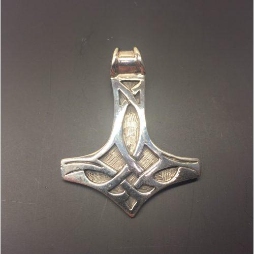 Vikingevedhæng i sølv - Thorshammer med keltisk flet stor