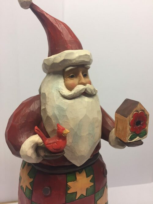 Jim Shore Heartwood creek julemand med fugl og fuglehus Santa with bird