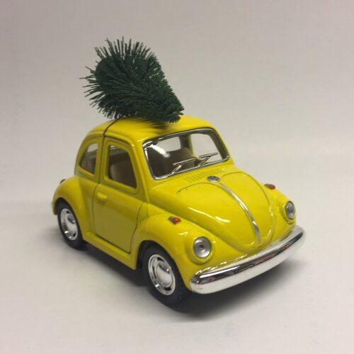 """VW Folkevogn """"bobble"""" med juletræ - mini Gul"""