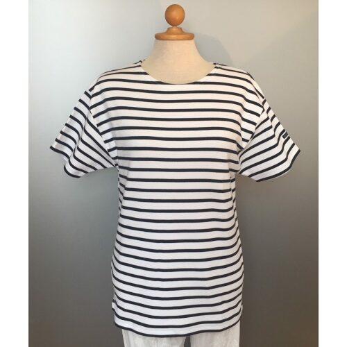 Armorlux T-shirt - interlock bomuld, Model 1524, stribet hvid/marine (unisex)