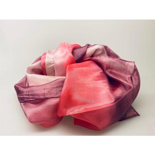 1658-241, Glat silketørklæde 1658 - Lyng/rosa/hvid,tørklæde ,silketørklæde,cerise, pink, rosa, lyserød, hvid, lilla, lyngfarvet, silke, ren silke, kvalitet, lækkert, eksklusivt, pongee, pongé, glat, blank, rosa nuancer, forårsfarver, tilbehør, smart, biti, ribe, kor, på job, gave, gaveidé,