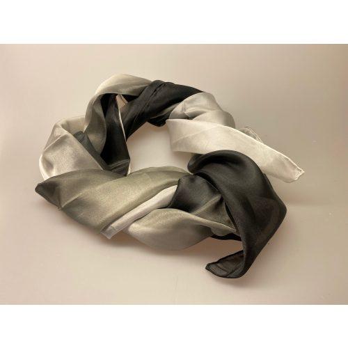 1658 farve 118, 1658-118, Glat silketørklæde 1658 - Grå/sort, glat, silke, ren silke, silketørklæde, til kor, kor, gospel, klassisk, lækkert, kvalitet, let, ægte, 100% silke, biti, ribe, en gros, videresalg, b2b, grå sort silketørklæde