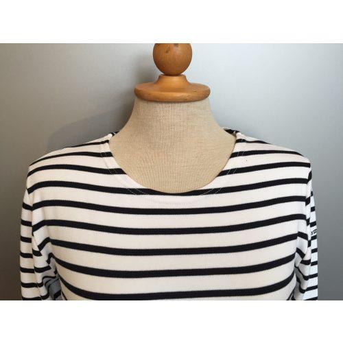 Armorlux T-shirt - interlock bomuld, Model 4277, stribet hvid/marine, damemodel langærmet