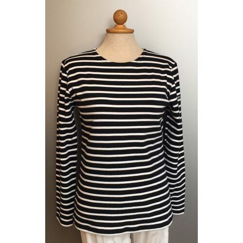 Armorlux T-shirt - interlock bomuld, Model 4277, stribet marine/hvid, damemodel langærmet