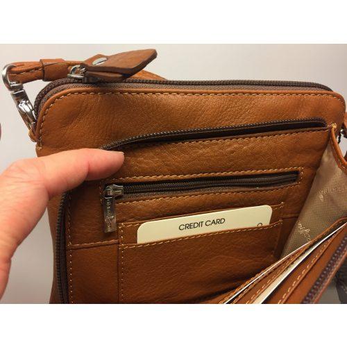 Lille Taske med integreret pung (5510) - Kalveskind Cognac