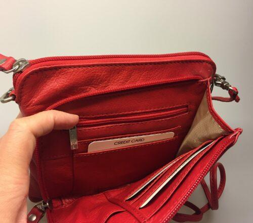 Lille Taske med integreret pung (5510) - Kalveskind Rød