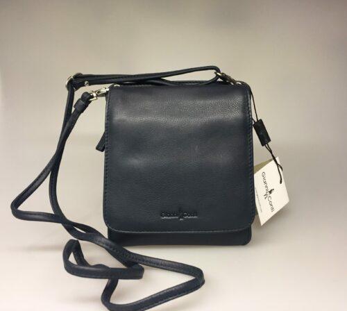 Taske med integreret pung (5513) - kalveskind Marineblå