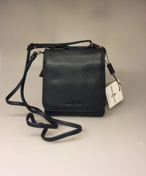 Taske med integreret pung (5513) - kalveskind Mørkeblå, crossbody, cross-body, lille taske, festtaske, skindtaske, lædertaske, blå, kvalitet, billig, smart, praktisk, ægte,Taske med integreret pung (5513) - kalveskind Marineblå