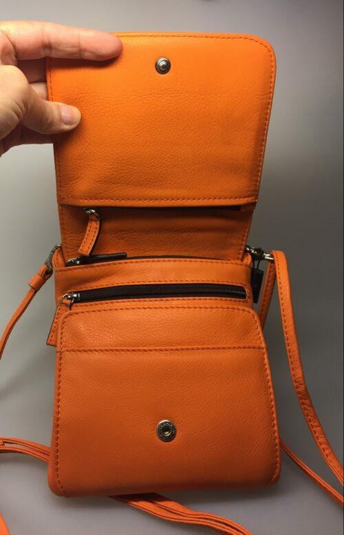 Taske med integreret pung (5513) - kalveskind Orange