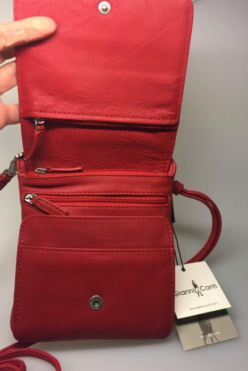 Taske med integreret pung (5513) - kalveskind Rød