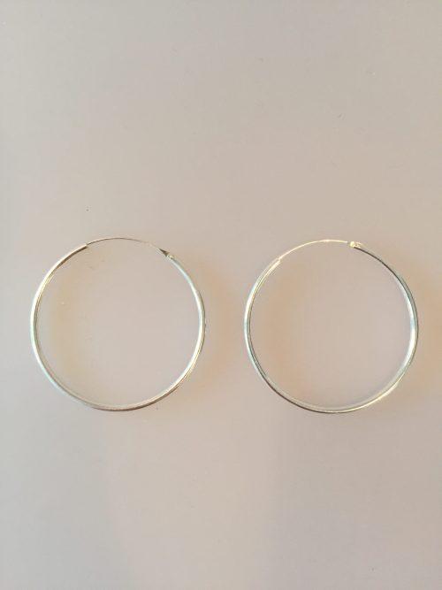 Ø 45 mm Creoler sølv - glatte hoops, runde øreringe, ørenringe, store, tynde, tykke, billige, ægte sølv, sterling sølv, nikkelfri, kvalitet, biti, ribe