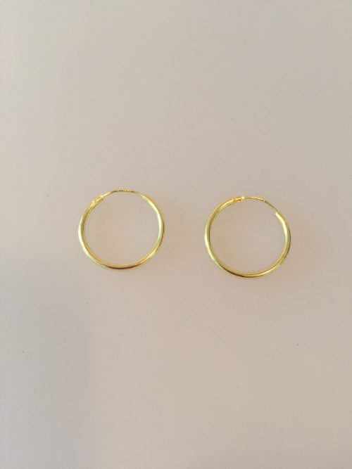 Creoler - Ø 18 mm øreringe forgyldt sølv - glatte Hoops, runde, ringe, øreringe, ørenringe, hoops, creol, creoler, ægte, guld, forgyldt, guldbelagt, billige, god kvalitet, flotte, enkle, maanesten