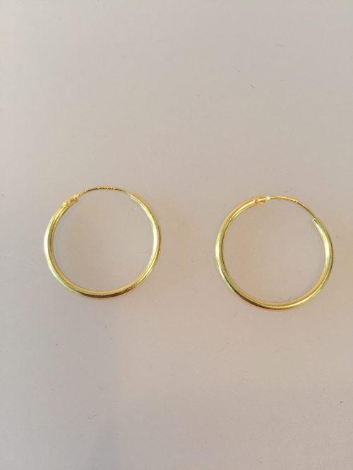 Creoler - øreringe forgyldt sølv - mellemstore Hoops (25 mm)
