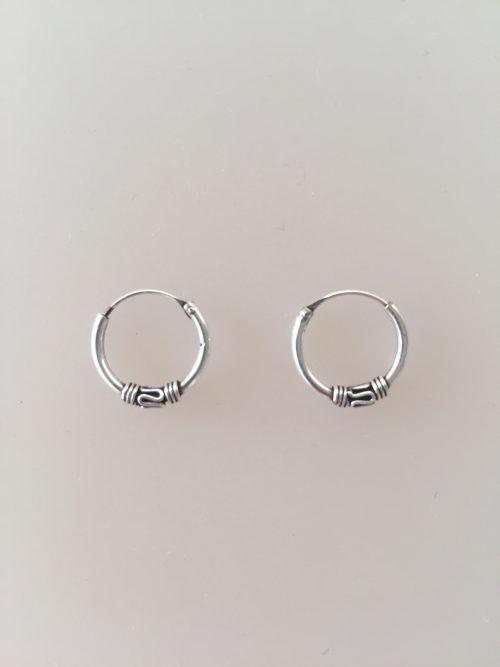 Ø12mm - Creoler øreringe i sølv - små med oxyderet mønster S-mønster