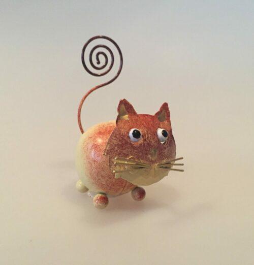 Memo holder metal - Brun kat, memoholder, indkøbsseddel, huskeseddel, huskekleme, fotoholder, metalkat, kattefigur, ting med katte, katteting, gaveidé, brun kat, garfield, mis, lille mis, missekat,