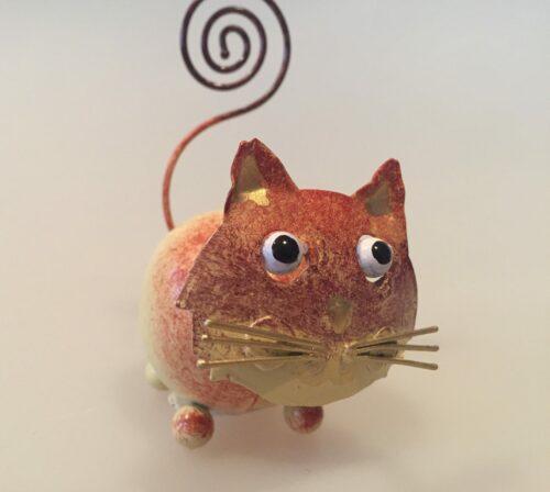 Memo holder metal - Brun kat, metal memoholder guld kat kattefigur orange