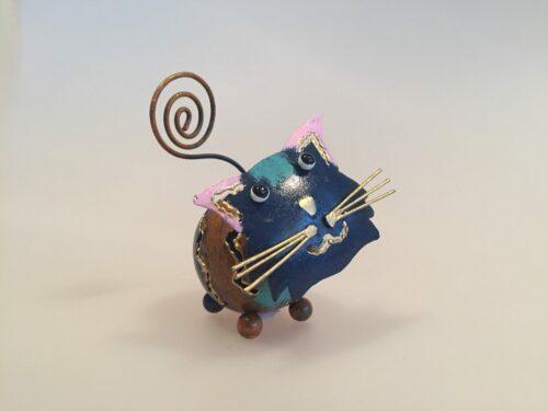 metal memoholder guld kat kattefigur blå