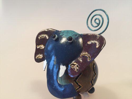metal memoholder guld elefant elefantfigur blå