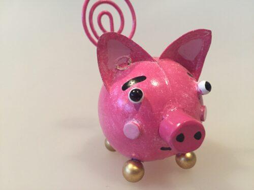 metal memoholder guld gris grisefigur pink lyserød