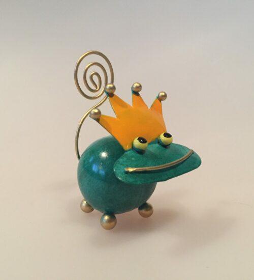 Memo holder metal - Grøn frøprins, frø, kys frøen, frøfigur, metalfigur, ting med frøer, memoholder, huskeseddel, indkøbsseddel, huskeklemme, noter, fotoholder,