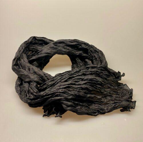 Twistet silketørklæde 1664 - Sort ensfarvet, silketørklæde tørklæde 17 sort silke