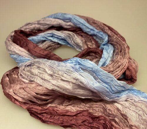 Twistet silketørklæde 1664 - dueblå/lilla