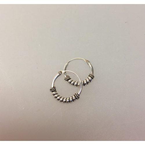 Ø12mm - Creol øreringe i sølv - små med kraftig glat og twistet snoning